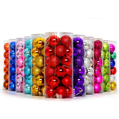 Outsta 24Pcs Christmas Ball Ornaments Tree Bauble Ball,Door Wall Ornament Garland for Christmas Holiday Wedding Party 30mm, 60mm (1.18