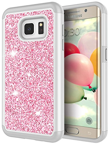 Galaxy S7 Edge Case for Girls, S7 Edge Bling Case, Jeylly Glitter Luxury Crystal Dual Layer Shockproof Hard PC Soft TPU Inner Protector Case Cover for Samsung Galaxy S7 Edge S VII Edge G935 -Rose Gold