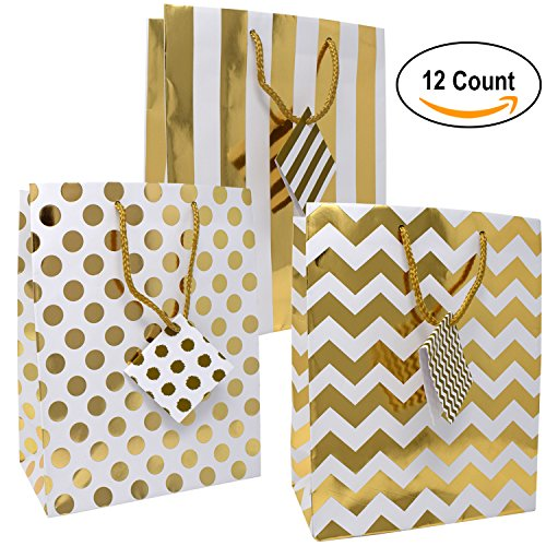 12 Medium Metallic Gold Gift Bags; Polka Dots, Stripes & Chevron