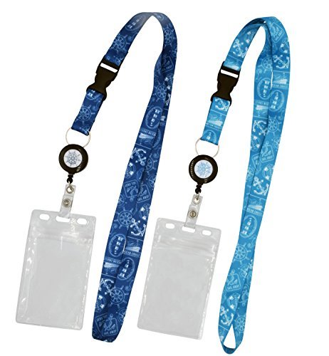 - 2-Pack Cruise Lanyard with Retractable Badge Reel, Water Resistant Badge Holder, and Snap Buckle, Teal and Blue Set
