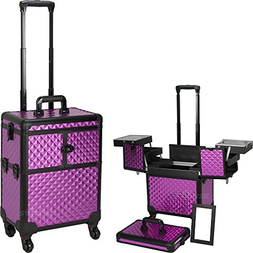 Professional Rolling Cosmetic Makeup Train Case Pattern: Diamond, Color: Purple/Black by Sunrise Cases