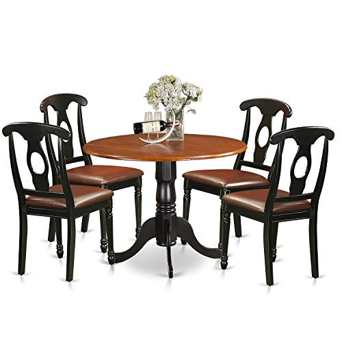 East West Furniture DLKE5-BCH-LC 5 Piece Small Kitchen Table and 4 Dining Chairs Dinette Set - Dining Dinette Set