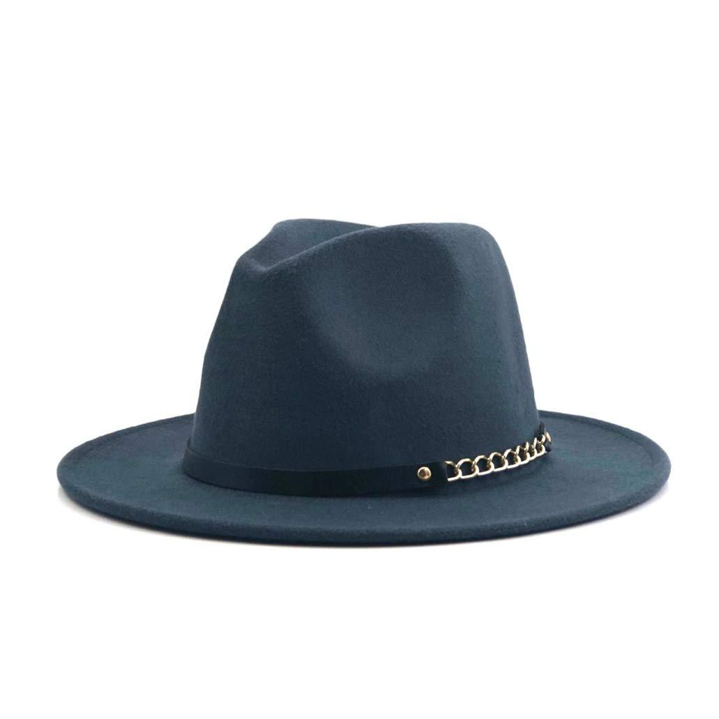 Unisex Fashion Felt Fedora Hats with Chain Vintage Trilby Caps Warm Jazz Hat