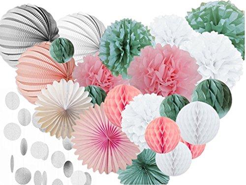 Hanzen-28-Pcs-White-Pink-Sage-Green-Kit-Tissue-Paper-Pom-Poms-Paper-Lanterns-Honeycomb-Balls-Paper-Fans-Polka-Dot-Paper-Garland-For-Birthday-Wedding-Party-Baby-Shower-Outdoor-Decorations