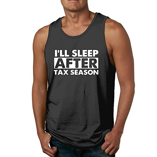 ZhiqianDF Mens I'll Sleep After Tax Season Casual Style Running Black Tank Tops S Tank Tops