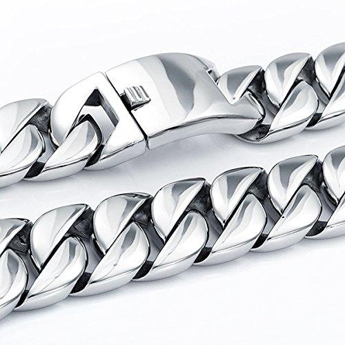 Mendino Large bracelet gourmette en acier inoxydable Argenté 25,4cm Pochette en velours incluse