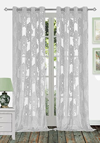 Ifblue 2-Panels 52×72-Inch Grommet Top Sheerness Velvet Cutting Flower Sheer Window Light Filtering Classic Curtains Drapes – Grey