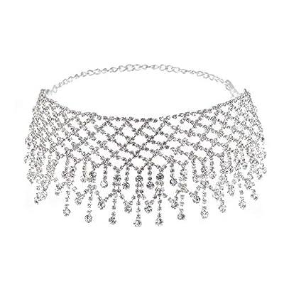 TOKO Rhinestone Choker Necklace for Women, Sexy Dainty CZ Diamond Gem Choker Neck Chokers for Women Girls