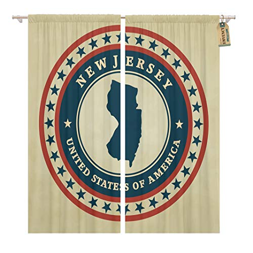 Golee Window Curtain Flag Vintage Label Map of New Jersey State Silhouette Home Decor Rod Pocket Drapes 2 Panels Curtain 104 x 84 inches