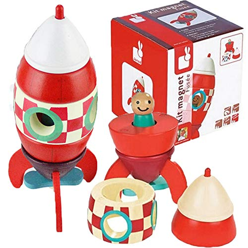 Space Toys Rocket Ship With Astronaut For Kids, 2 Pcs Wooden Spaceship Magnetic Rocket DIY Assembly For Childs Educational Discovery Space Center Kit Magnet Toy Figure Playset, Great Gift For Age 3+ ()