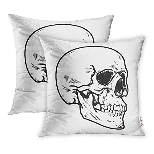 Emvency Set of 2 Throw Pillow Covers Print Polyester Zippered Line Skull Collection of Hard Core Anatomic Anatomy Pillowcase 18x18 Square Decor for Home Bed Couch Sofa ()