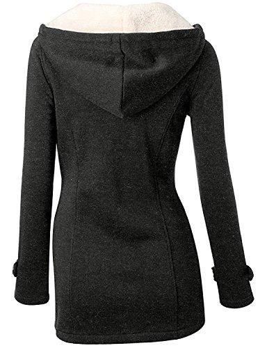 Xy Litol New Fashion Women's Winter Warm Hooded Pea Coat Jacket Black L