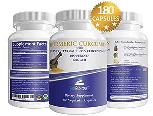 Zen Principle Organic Turmeric Curcumin Root with Bioperine Dietary Supplement - 180 Capsule