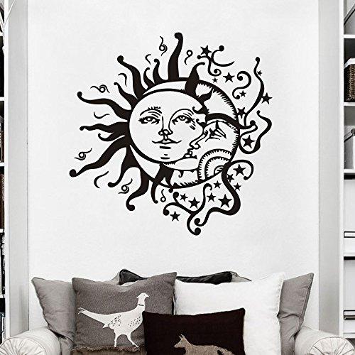 - MoharWall Crescent Ethnic Dual Symbol Stars Night Sunshine Wall Decal Sun Moon Sticker Bedroom Vinyl Art Murals Home Decor