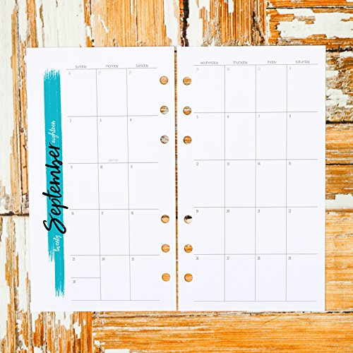 2018 2019 Dated Monthly Calendar Insert for Six Ring Personal Size | Untabbed Sunday