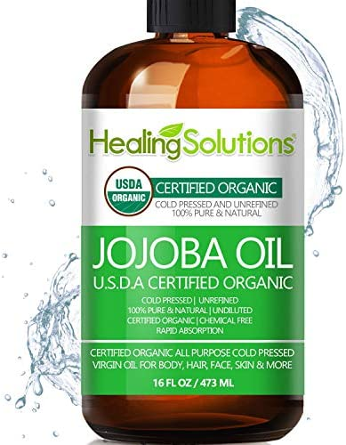 Jojoba Oil (Organic - 16oz) 100% Pure & Natural - Cold Pressed Unrefined - Hexane & Chemical Free - Perfect All-Natural Carrier Oil Solution for Face & Hair, Helps Fight Acne & Moisturize Skin Now