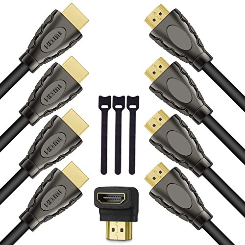 HDMI Cable 6ft HDMI 2.0 Cable with 24K Glod-Plated- High Speed HDMI Cable Supports 4K, 3D, 2160P, 1080P, Ethernet, Apple TV, HDMI Cord Works w/PS3, PS4, Xbox, PC,Projector-4 Pack