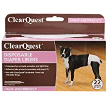 ClearQuest US6116 22 Disposable Dog Diaper Liners, 22-Pack, Absorbent Pads, Extra Protection for Cover-Ups and Male Wraps