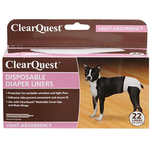 ClearQuest Disposable Dog Diaper Liners, 22-Pack, Absorbent Pads, Extra Protection for Cover-Ups and...