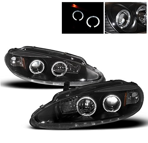 1998-2004 Dodge Intrepid Halo Projector Headlights with 50W 6000K HID Conversion Kit - Black