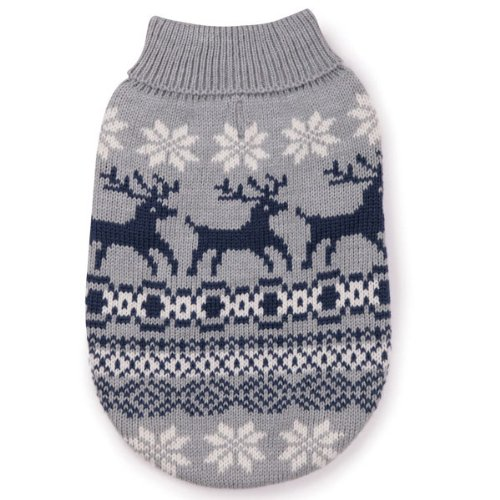 East Side Collection Acrylic Caribou Creek Dog Sweater, X-Small, 10-Inch, Gray, My Pet Supplies