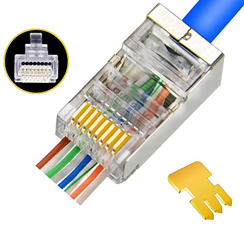 Cat6 Connectors Pass Through - Shielded RJ45 Pass Through Modular Plugs Gold Plated 3 Prong 8P8C Ethernet Ends for Solid Wire and UTP Stranded Cable(50PCS)