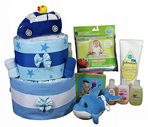 Diaper Cakes for a Boy Baby Shower - Racecar 12 Piece Gift Set by Sunshine Gift (Baby Boy Diaper Cakes)