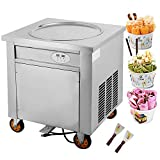 Forkwin 1800W Fried Ice Cream Machine 19.7inch Commercial Roll Maker Stainless Steel for Restaurant Snack Bar
