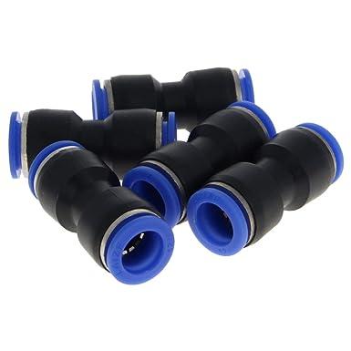 Othmro Straight Push Connectors Plastic Push Tube Quick Connect Fittings Pneumatic Connectors Blue PG8-6 5pcs