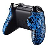 eXtremeRate Textured Blue Back Panels, Comfortable Non-Slip Side Rails, 3D Splashing Handles, Game Improvement Replacement Parts for Microsoft Xbox One X & One S Controller