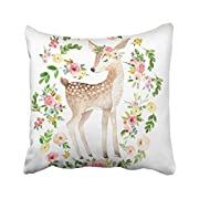 Accrocn Colorful Vintage Tribal Boho Bright Watercolor Woodland Deer Baby Nursery Floral Polyester 18 x 18 Inch Square Throw Pillow Covers With Hidden Zipper Home Sofa Cushion Decorative Pillowcases