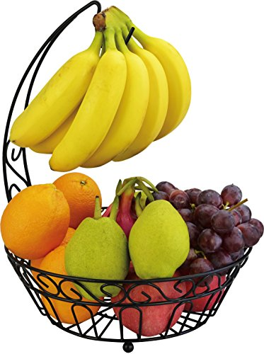 Surpahs Countertop Fruit Basket Stand w/ Detachable Banana Hanger [Improved]