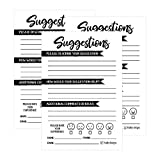 25 4x6 Feedback Comment Suggestion Card Forms for Customer Complaints, Business Employees, Restaurant Blank Refill Paper, Name Pad for Client Contact Info for Wooden Or Metal Lock Box Holders