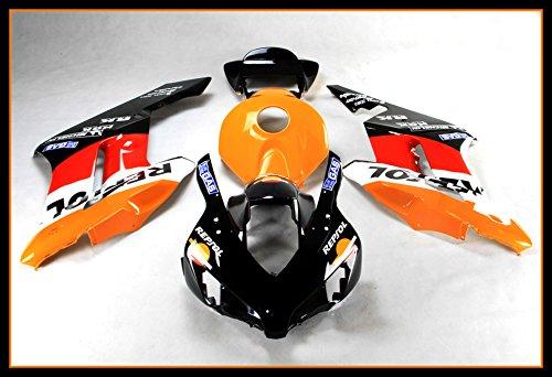 Protek ABS Plastic Injection Mold Full Fairings Set Bodywork With Heat Shield Windscreen for 2004 2005 Honda CBR1000RR Repsol Edition ()