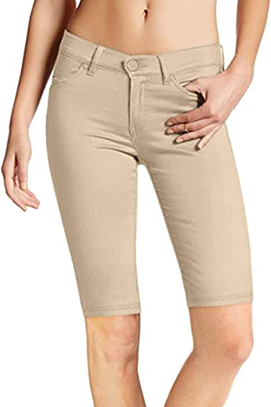 Womens Shorts, Hyper Ultra Stretch Comfy Skinny Casual Pants High Waist  Knee Length Shorts Wear to Work Trousers Shorts Pants at Amazon Women's  Clothing store