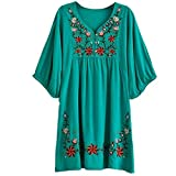 Yaketera Women Mexican Embroidered Peasant V Neck Mexican Tops Blouses (Green),One Size