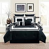 Black and White King Comforter Set 12 Piece Bernard Black Comforter Set with Sheets King