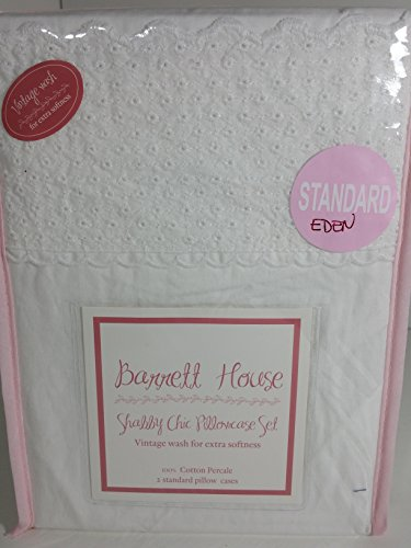- Barrett House 100% Cotton Percale Shabby Chic Embroidered White Lace Pillowcase Pair -(Eden), (Standard)