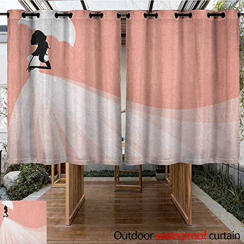 AndyTours Pergola Curtain,Bridal Shower,Bride in Abstract Romantic Wedding Dress with Umbrella Artwork Print,Waterproof Patio Door Panel,K140C100 Salmon and White