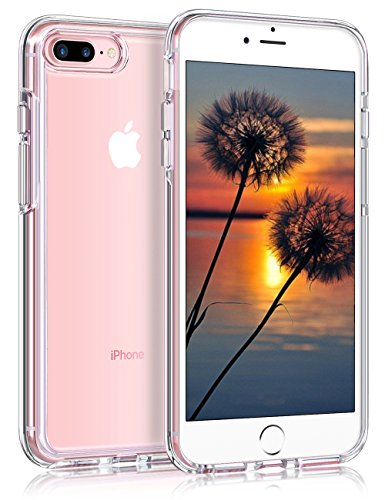 Coolden Crystal Clear Case for iPhone 8 Plus Slim Protection Soft TPU Gel Bumper Scratch Resistant Solid Acrylic Back Cover [Wireless Charging Compatible] for 5.5 Inches iPhone 7 Plus 8 Plus