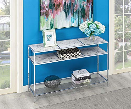 Convenience Concepts 134599WM Console Table, Faux White Marble/Glass/Chrome Frame
