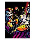 Skull Rocker Flocked Blacklight Poster 23 x 35in
