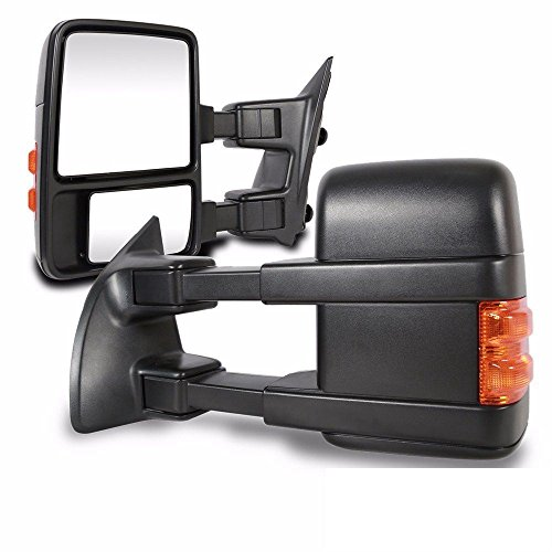 Super Drive Black Power Heated Towing Mirrors for 2008-2018 F250 F350 F450 F550 Rear View Side Mirror Pair Set with Yellow Signal