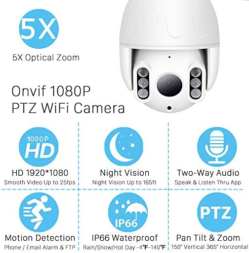 PTZ WiFi Camera Outdoor, 1080P Wireless IP Security Camera, Pan Tilt 5X Optical Zoom Dome Surveillance Cam, Two Way Audio Motion Detection 196ft Night Vision Onvif Waterproof CCTV Camera Max 128G SD