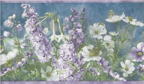 Wallpaper Border with Larkspur, Daisies & Butterflies - Wild (Wildflower Wallpaper)