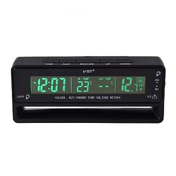 Etercycle Termómetro/medidor de voltaje/alerta por heladas/reloj VST-7010V 12V/24V digital para coche para interiores y exteriores: Amazon.es: Coche y moto