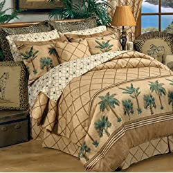 Kona Tropical Bedding 5 Piece Queen Size Comforter Set (1 Queen Size Comforter, 2 Pillow Shams, 1 Bedskirt, 1 Square Accent Pillow) SAVE BIG ON BUNDLING!