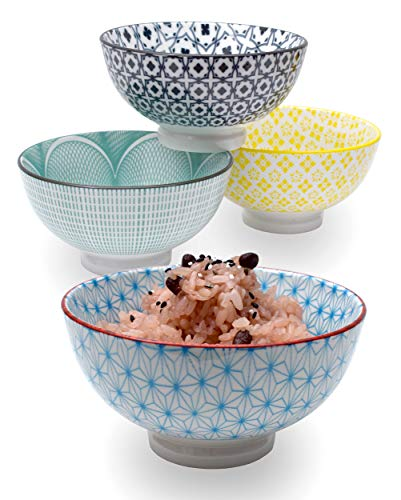 Japanese Dinnerware Ceramic Rice Bowl Set Serving Rice Bowls Tableware for Asian and Oriental Cuisines (Set of -