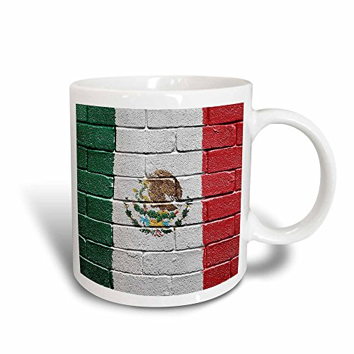 (3dRose 156940_3 National flag of Mexico painted onto a brick wall Mexican Mug, 11 oz)