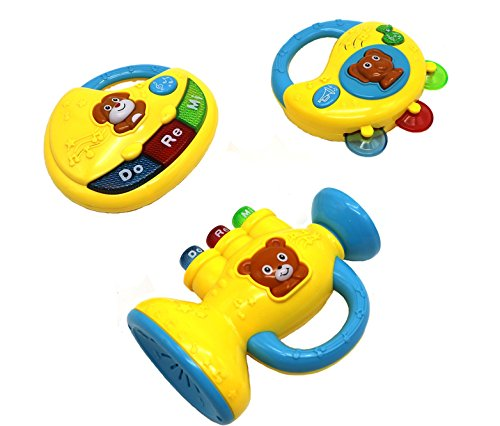 Ver-Baby 3 in 1 Musical Childrens Kids Toy Set Piano Tambourine & Trumpet Activity Toy Set for Tons of Fun (It's Because Instrumental Christmas)